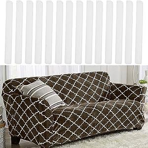 14 Pieces Slip Cover Foam Grips for Couch Slipcovers Furniture Seat Chair Covers,Non Slip Foam Strip,Antislip Foam Slipcover Sticks