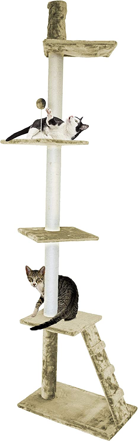 Amazon Com Furhaven Pet Cat Tree Tiger Tough Cat Tree House Perch Entertainment Playground Furniture For Cats And Kittens Ladder Playground Cream Pet Supplies