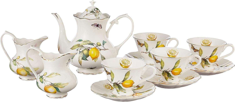 Grace SEAL limited Ultra-Cheap Deals product Teaware 11-Piece Porcelain Set Tea Lemon