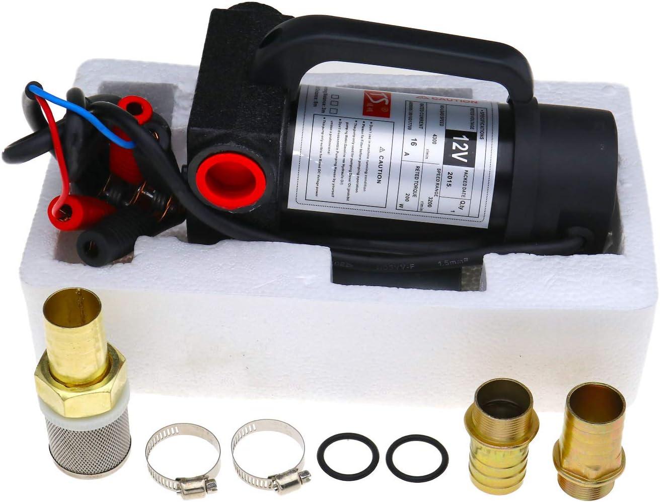 ENET Juego de 200 W 42 L/min extractor de fluidos diésel de transferencia eléctrica DC 12 V bomba de combustible de alta velocidad Kit de bomba de combustible