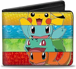 Buckle-Down Men's Wallet Pikachu & Kanto Starter Pokamon + Pokamon Type Stri Accessory, -Multi, One Size