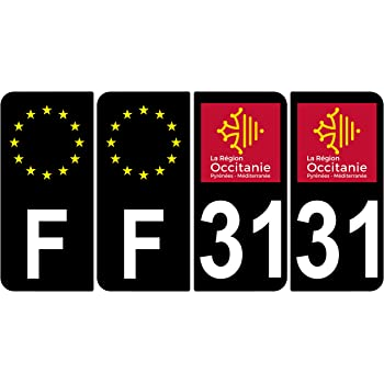 Supstick 4 Stickers Autocollants Plaques Immatriculation Auto Dept 31 Occitanie Noir Angles Arrondis