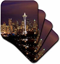 3dRose CST_88434_2 A Photo of The Seattle Skyline at Dusk US05 JGS0060 Jim Goldstein Soft Coasters, Set of 8