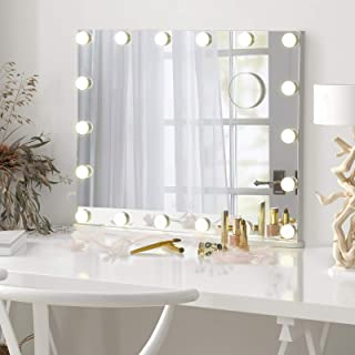 LUXFURNI Vanity Tabletop Makeup Hollywood Mirror Dimmable Light Touch Control 18 cold/Warm LED Lights, Detachable 3x Magni...