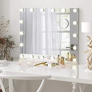 LUXFURNI Miroir de Maquillage Hollywood sur Table avec lumière dimmable alimentée par USB, à Commande Tactile, à lumière F...