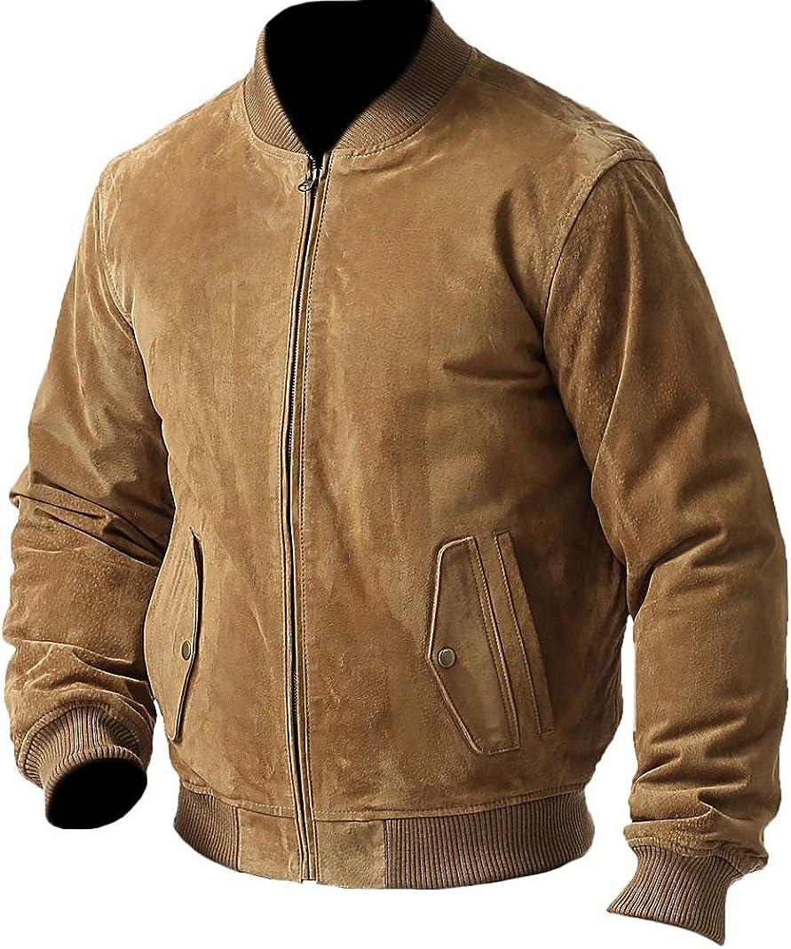 SleekHides Men's Fashion Suede Leather Bomber Jacket