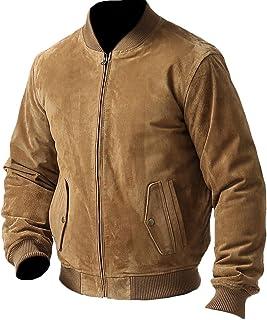 coolhides Men's Fashion Suede Leather Bomber Jacket