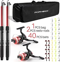 SupsShop Telescopic Fishing Pole Combo Set, All-in-one 1.8m/5.9ft Full Kit 2PCS Collapsible Rods + 2PCS Spinning Reels + Fishing Lures + Fishing Bag, Perfect Fishing Kit Gift for Chindren Beginners