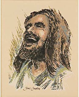 Dicksons Laughing Jesus With Innocent Boy Brushed Grayscale 8 x 10 Wood Wall Sign Plaque