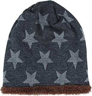 HULKAY Men Caps Sale Casual Soft Stretch Autumn and Winter Trendy Warm Five-Star Wool Plus Velvet Knit Hat