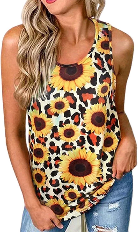 Women Tank Tops Sunflower Leopard Print Sleeveless T Shirts O-Neck Trendy Vintage Vest Summer Casual Easy Blouses