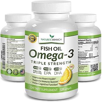 Best Triple Strength Omega 3 Fish Oil Pills 2500mg Burpless High Potency Lemon Flavor - 900mg EPA 600mg DHA Ultra Pure Liquid Softgels 120 Capsules for Brain Joints Eyes Hair Heart Health Supplement