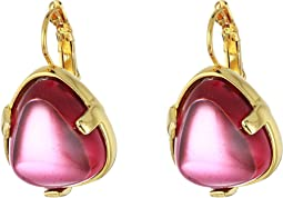 Gold/Amethyst Glass Cabochon Nugget Eurowire Earrings