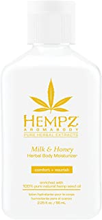 Hempz Milk & Honey Herbal Body Moisturizer with Jojoba Seed, Cocoa Butter, 2.25 oz. - Fragranced, Everyday Body Lotion with Agave Extract to Hydrate Sensitive Skin - Premium Skin Care Products