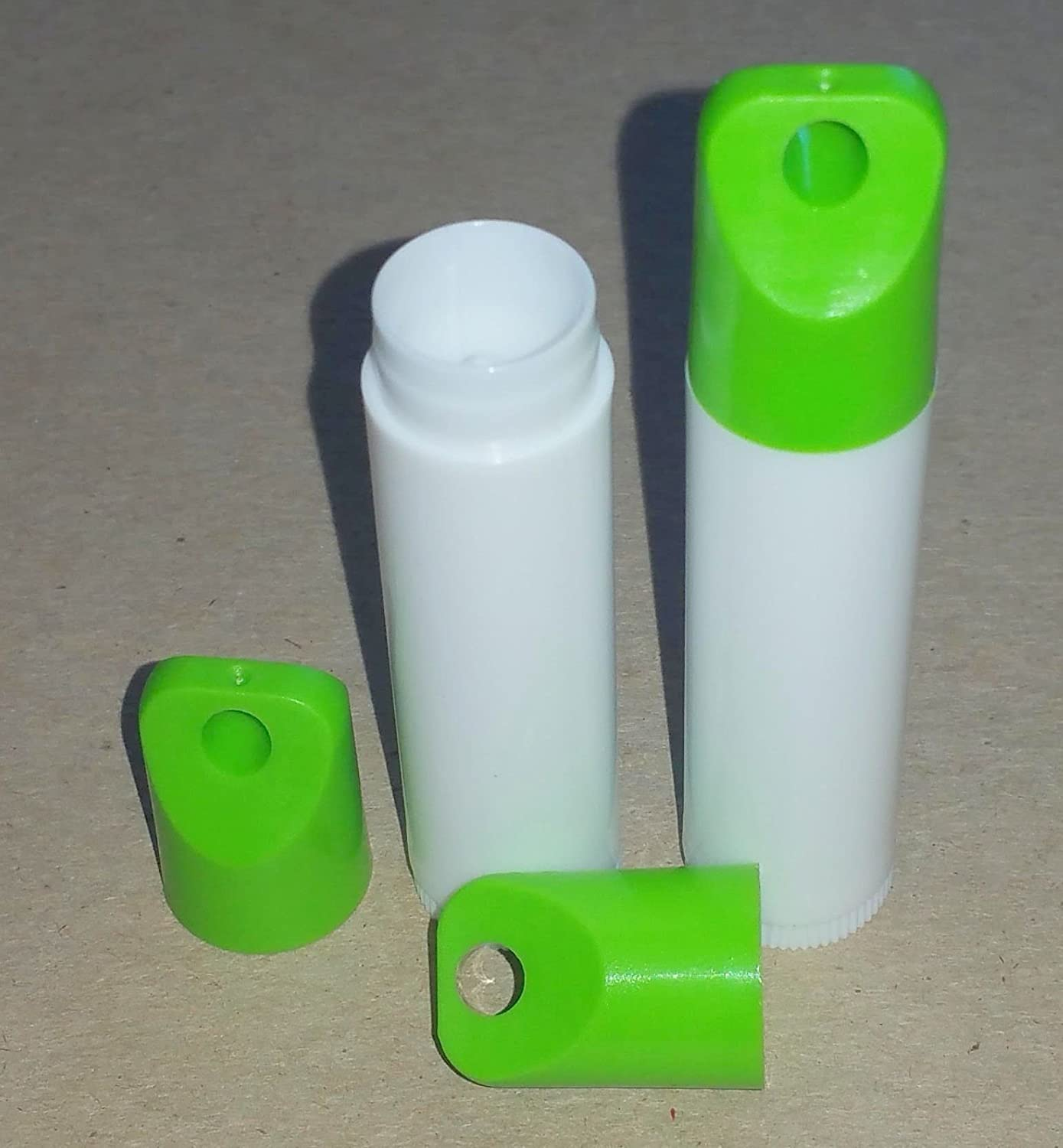 50 New Empty Manufacturer OFFicial shop White Lip Balm unisex Tubes with - 0.15 Lanyard CAPS Green