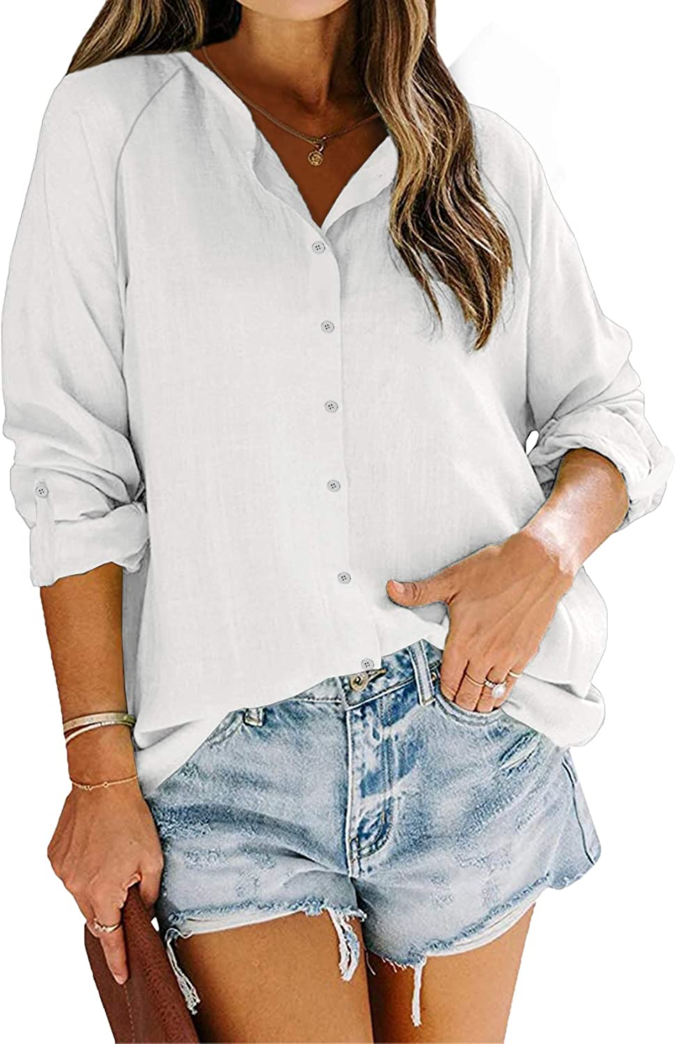 Ryannology Womens Button Down Long Sleeve V Neck Blouse Roll Up Sleeve Casual Work Plain Linen Cotton Shirts