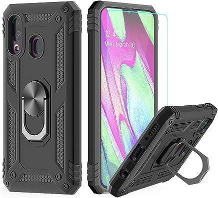 LeYi Funda Samsung Galaxy A40 Armor Carcasa con 360 Anillo iman Soporte Hard PC y Silicona TPU Bumper antigolpes Fundas Carcasas Case para movil Samsung A40 con HD Protector de Pantalla,Negro