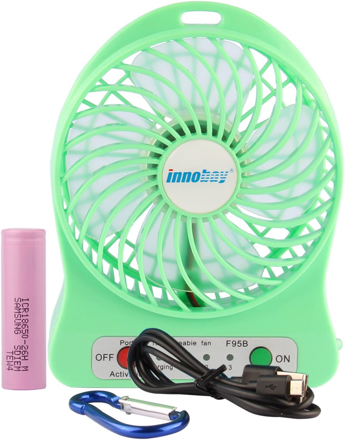 innobay 4-inch Personal Desktop USB Fan Powered Rechargeable Lithium Battery, 3 Speeds Setting, w/Led Lamp (Green)