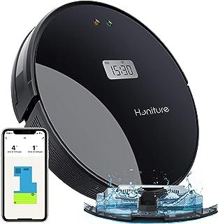 Aspirateur Robot,HONITURE Q5 Robot Aspirateur Laveur 2 en 1,2000Pa,Aspirateur Robot Nettoyeur Lavant avec Affichage LCD,Na...