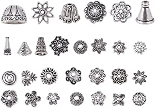 Bingcute 200Pcs Assorted Metal Tibetan Silver Bead Caps for Jewelry Making Supplies,Bali Style Beads Making for Jewelry (Antique Silver)