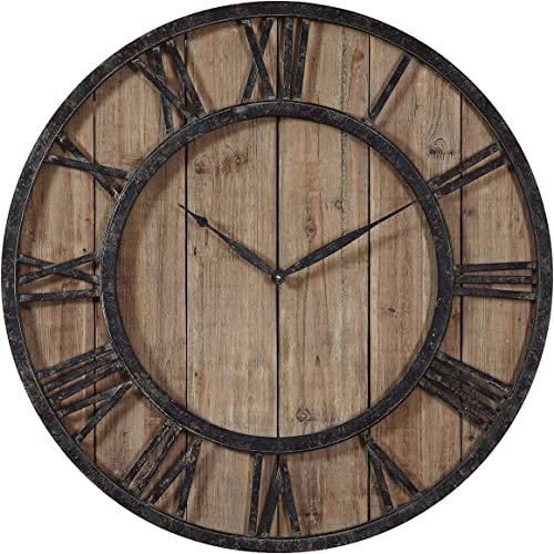 """lowest Uttermost online sale Powell 30"""" Round new arrival Wooden Wall Clock outlet sale"""