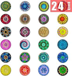 DIYSELF 24Pack Glass Fridge Magnets Refrigerator Magnets Office Magnets Small Magnets Colorful Decoration Magnets for Whiteboard
