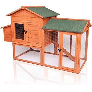 POTBY 41'' Chicken Coop, Deluxe Wooden Rabbit Hutch Pet Cage Shelter Hen House with Waterproof Roof , Ladder and Egg Box for Bunny, Rabbit, Chicken and Other Small Animals Outdoor Backyard Garden
