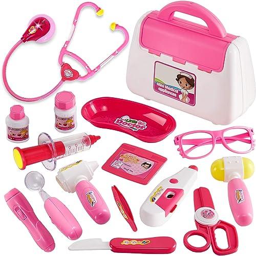 Buyger 16 Pièces Malette Docteur Enfant Jouet Medecin Outils, Jeu d'imitation Cadeau pour Fille et Garcon, Rose