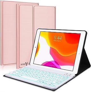 New iPad 10.2 8th 7th Generation 2019 Keyboard Case,Boriyuan 7 Colors Backlit Detachable Keyboard Slim Leather Folio Smart Cover for iPad 10.2 Inch/iPad Air 10.5