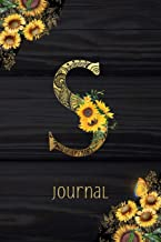 S Journal: Sunflower Journal, Monogram Letter S Blank Lined Diary with Interior Pages Decorated With More Sunflowers.
