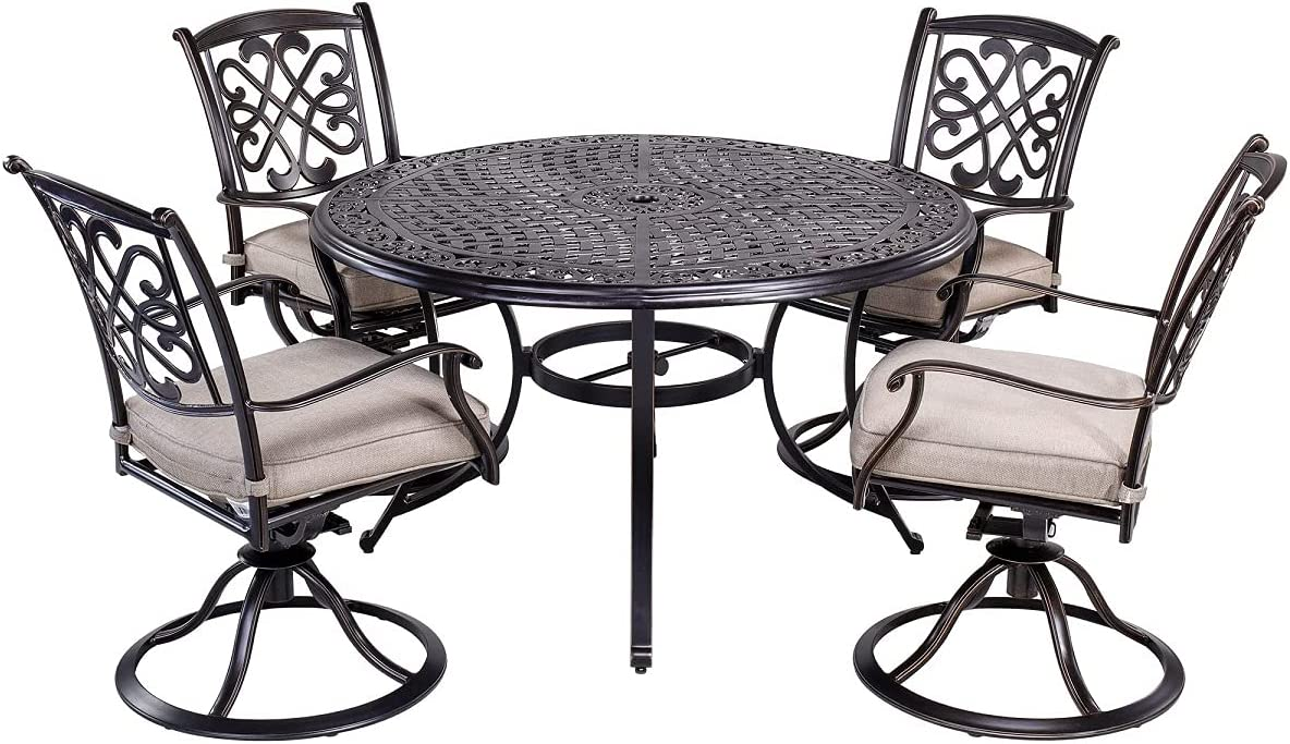 dali 10 Piece Outdoor Dining Set Patio Furniture, Deep Cushioned Aluminum  Swivel Rocker Chair Set with 10 inch Round Alum Casting Table
