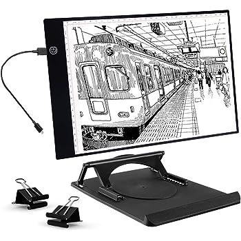 Artistas Cajas de luz Almohadilla de dibujo LED de seguimiento portátil ultrafino A4, cable de alimentación USB Brillo regulable LED Artcraft Tracing Light Pad Box (A4 con soporte): Amazon.es: Hogar