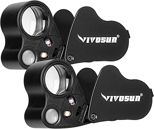 high quality VIVOSUN outlet online sale 2-Pack 30X 60X Illuminated Jewelers Loupe Foldable Magnifier with LED Light for wholesale Jewelry Gems Watches Coins Stamps Antiques Black online