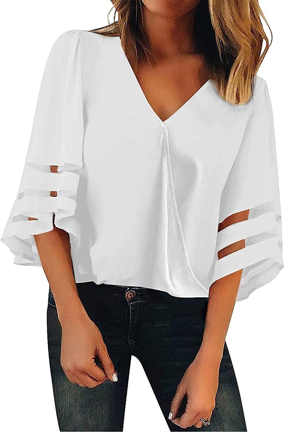 Off the Shoulder Tops for Women 3/4 Bell Sleeve V Neck Mesh Patchwork Blouse Casual Loose Tunic Shirt American Flag Top