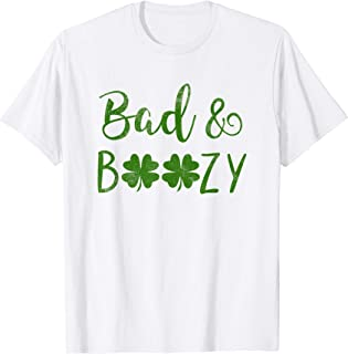 Bad and Boozy St Patricks Day Shamrock Green Women T-Shirt