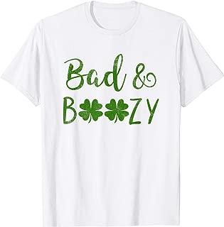 Bad and Boozy St Patricks Day Shamrock Green Shirt Top Women