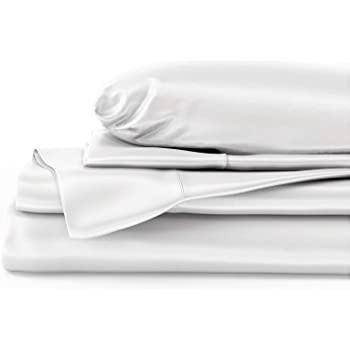 """Mulberry Park Silks - Queen Silk Sheet Set (15"""" Pocket) - White - Deluxe 22 Momme 100% Pure Mulberry Charmeuse Natural Bedding - Oeko-TEX Certified - Seamless"""