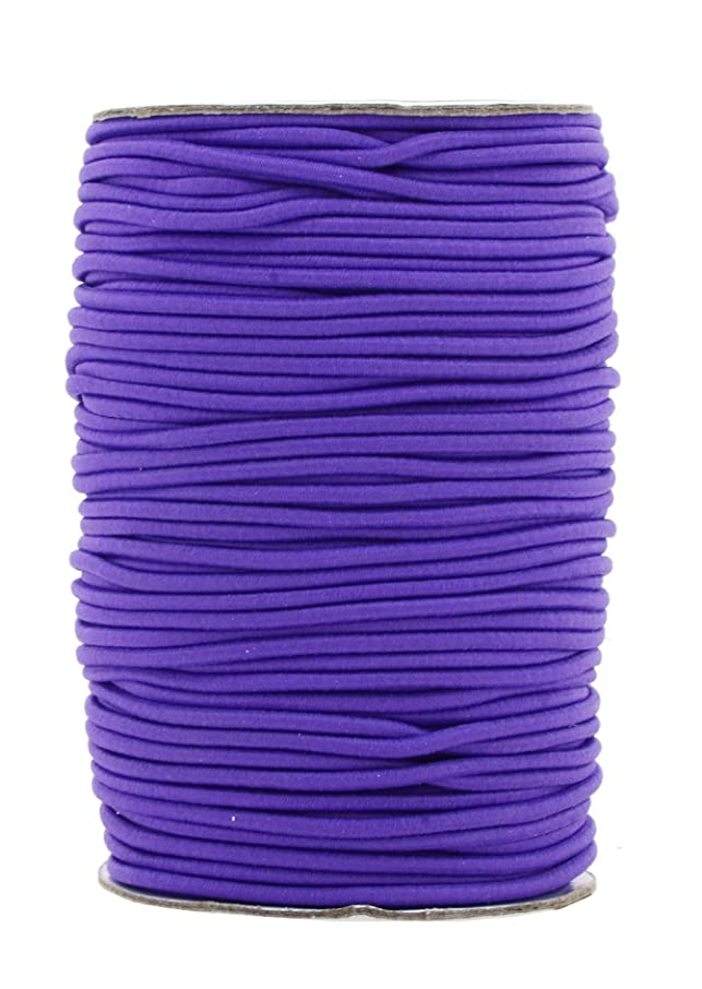 Mandala Crafts 2mm 76 Yards Fabric Elastic Cord, Round Rubber Stretch String for Journals, Beading, Jewelry Making, Masks, DIY Crafting (Purple)