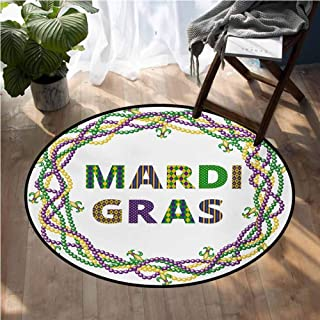 Mardi Gras Low-Profile Mats Vivid Beads Circular Frame with Lettering Traditional Patterns Print Circle Rugs for Living Room D72 Inch