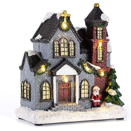 House Village Building Set of 4 innodept12 Lighting up DIY Christmas Doll Figurine Tiny Resin House Village