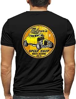 Milner's Speed Shop Hot Rod Rat Nostalgia Drag Race Racing NHRA Black Short Sleeve Shirt