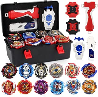 JIMI Bey Battling Top Burst Gyro Toy Set 12 Spinning Tops 3 Launchers Combat Battling Game with Portable Storage Box Gift ...