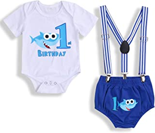 Baby Birthday Shark Clothes Baby Boy Girl Short Sleeve Bodysuit and Cake Smash Outfits