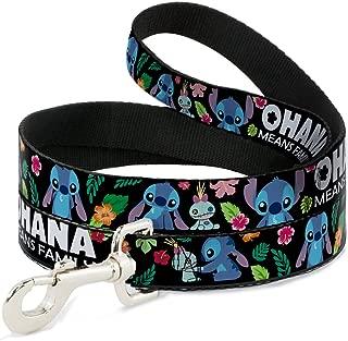Dog Leash Ohana Means Family Stitch Scrump Poses Tropical Flora Black 4 Feet Long 1.0 Inch Wide