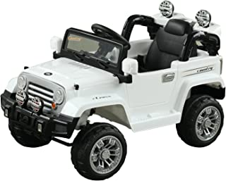 Aosom Off-Road Truck with MP3 Connection, Working Horn, Steering Wheel, and Remote Control, Dual 6V Motor, White