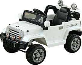 Aosom Off-Road Battery-Powered Truck with MP3 Connection, Working Horn, Steering Wheel, and Remote Control for The Ultimate Realistic Simulated Driving Experience, Dual 6V Motor, White