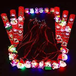 Blulu 24 Piezas Collar de Navidad con luz LED con Pulsera y Anillos Intermitentes para Decoraciones de Fiestas navideñas o Relleno de calcetín navideño