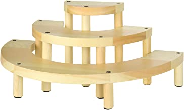 MyGift 3-Tier Semicircle Natural Light Wood Cupcake Display Stand