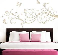 Grandora Muursticker XXL bloemenrank vlinders bloemen I beige (BxH) 210 x 81 cm I slaapkamer liefde hal woonkamer moderne ...