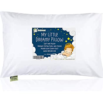 Toddler Pillow with Pillowcase - 13X18 Soft Organic Cotton Baby Pillows for Sleeping - Machine Washable - Toddlers, Kids, Infant - Perfect for Travel, Toddler Cot, Bed Set (Soft White)